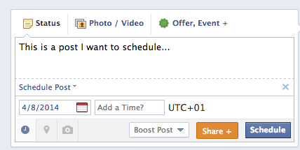 schedule Facebook post