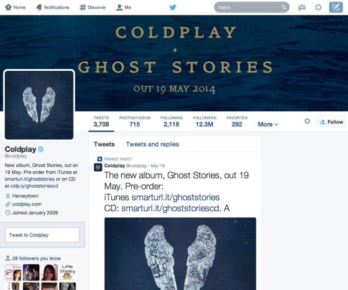 Coldplay twitter header image