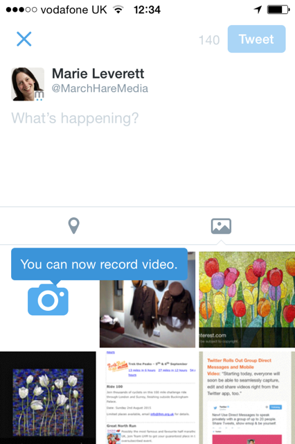 you can now record videos from twitter app