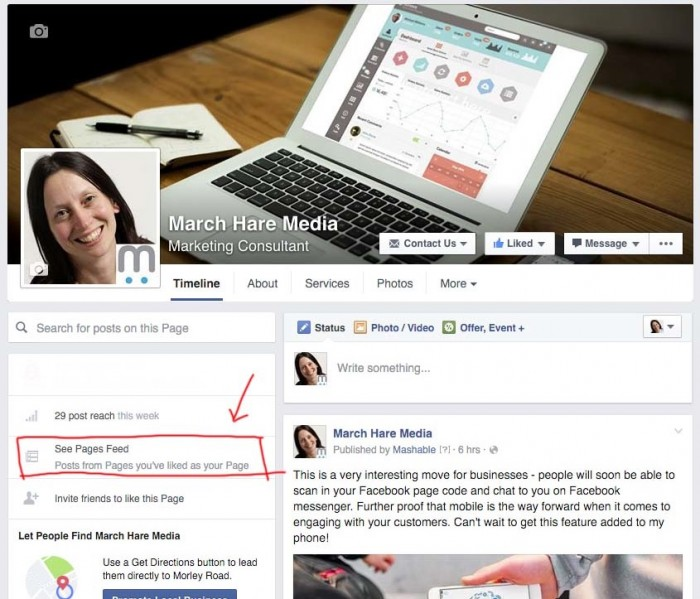 Switch to use Facebook as page